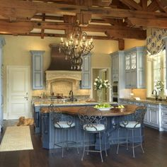 Rustic French Country, French Country Kitchens, French Kitchen, French Country Decorating, Country Style, Country Bathrooms, Blue Country Kitchen, Tuscan Kitchens, Kitchen Modern