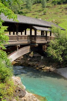 Wooden Bridge over the river Ostrach, Bavaria, Germany
