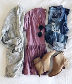 Casual dress up mauve shirt peplum baby doll boyfriend jeans and a sweet chunky cardigan