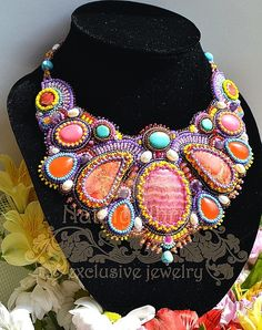 Beautiful embroidered jewelry by Nataly Uhrin (part 1) Click on link to see more photos - http://beadsmagic.com/?p=5104