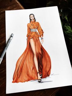 Let the fashion illustrations by Eris Tran - Industria Textil and . - Let yourself be drawn by the fashion illustrations by Eris Tran – Industria Textil and V … – - Dress Design Drawing, Dress Design Sketches, Fashion Design Sketchbook, Dress Drawing, Fashion Design Drawings, Dress Designs, Fashion Figure Drawing, Fashion Drawing Dresses, Fashion Drawing Tutorial