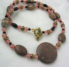 Zebra Stone with Rose Quartz Necklace. $25.00, via Etsy.