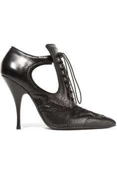 GIVENCHY Cutout Ankle Boots In Black Leather And Lace. #givenchy #shoes #boots