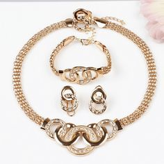 Gold & Diamond Jewelry set Great for Gifts. Makes wonderful bridesmaids accessories.New Product Gold Round Pendant Necklace with Bracelet and Earrings and Ring 18K Gold Plated Jewelry Sets.