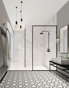 Modern Monochrome Bathroom Ideas: Black & White Bathroom Inspiration The Crittall-inspired interiors Bathroom Countertop Design, Bathroom Interior Design, Bathroom Designs, Art Deco Bathroom, Bathroom Cabinets, Basement Bathroom, Small Bathroom, Modern Bathrooms, Bathroom Showers
