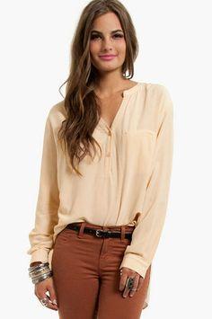 Mandarin Collar Button Up Shirt at www.tobi.com