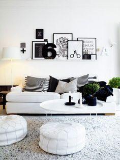 White Interior Design for Contemporary and Minimalist Design : Black White Cushions In White Living Room Design Living Room Shelves, My Living Room, Home And Living, Modern Living, Small Living, Cozy Living, Living Area, White Couch Living Room, Minimalist Living