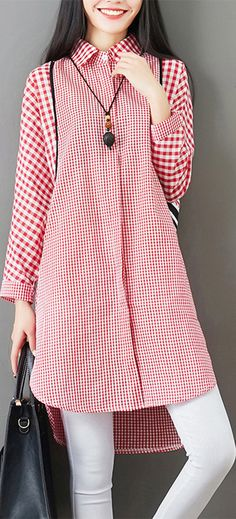 Plaid Patchwork Button Pocket Casual Shirt for Women #shirt #fashion #spring