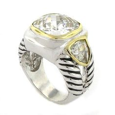 2-tone Superb Designer Ring w/3 White CZs, .925 Sterling Silver, Size 6 >>> Continue to the product at the image link. (This is an Amazon Affiliate link and I receive a commission for the sales)