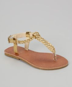 Love this Simply Petals Gold Woven T-Strap Sandal by Simply Petals on #zulily! #zulilyfinds