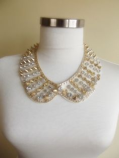detachable peter pan collar necklace beads bridal by trendycollars, $19.00