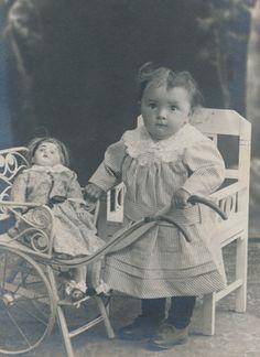 CDV Sweetest Toddler Girl with Doll Pram Switzerland 1918 | eBay
