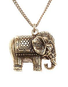 Elephant Pendant Necklace | Gold