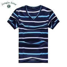 2016 erkek V Yaka T-shirt erkek kısa kollu T-shirt erkek pamuk t shirt çizgili tshirt ücretsiz kargo VL001