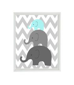 Elephant Nursery Wall Art Chevron  - Mom Baby Dad Family Aqua Gray Decor - Children Kid Baby Room - Wall Art Home Decor 8x10 Print