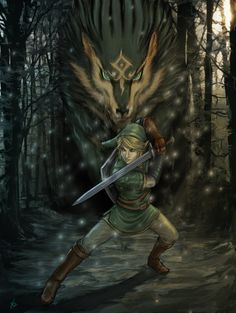 Link-Wolf FINAL by *YamaO on deviantART- I know that he's not real, but he is a bad ass character.