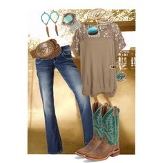 the cowgirl in me by mattiestockman on Polyvore featuring VILA, YooLa, Ela Stone, ASOS, Free People, Roxy and Nocona