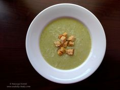 Courgette cream soup served with grated parmesan cheese and croutons. Cream Soup, Parmesan, Guacamole, Recipies, Food And Drink, Gluten Free, Tasty, Cheese, Ethnic Recipes