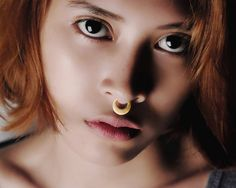 Gold Septum Ring - Gold Nose Ring - Gold Septum Clicker - Cresent Septum - 22K Gold Plating Nose Ring  This unique septum fits quite snug and has