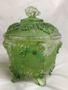 Vintage Jeanette Marigold Carnival Glass Candy Dish w/Lid 3 Footed Grape Pattern