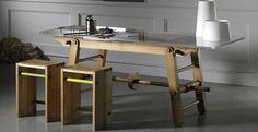 Lottocento - tavolo compasso vetro e legno