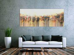 Abstraktes Acrylbild modern weiß hell schlicht 80x200cm von xxl-art.de