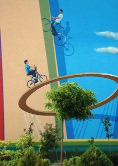 bicycle Mural on Behance Painted on 4 walls in Lale Square in West of Tehran  By:Mehdi Ghadyanloo 3D street art