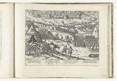 Frans Hogenberg | Inname van Valenciennes, 1567, Frans Hogenberg, 1567 - 1570 | Inname van Valenciennes. De stad wordt door de heer van Noircarmes heroverd op de calvinisten, maart 1567. Gezicht vanuit het legerkamp van Noircarmes op de stad. Met onderschrift van 8 regels in het Duits. Genummerd: 6.