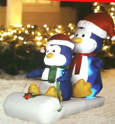 Totally Cute Two Pengiuns On Sled Airblown Inflatable 4