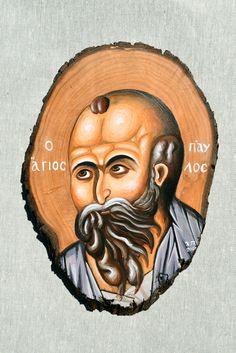 Saint Paul Byzantine icon handpainted on wood 20 x 15 x cm Byzantine Icons, Orthodox Icons, Place Of Worship, Walnut Wood, Saints, Sketches, Hand Painted, Traditional