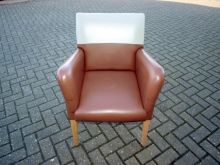 RETROLC04BCFL Retro Lounge Chair in Brown and Cream Faux Leather www.cityfurnitureclearance.co.uk