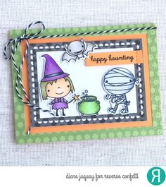 Card by Diane Jaquay. Reverse Confetti Stamp set: Best Witches. Confetti Cuts: Best Witches, All Framed Up, and Lacy Scallop Frames. Accessories: RC Tangerine Cardstock and Fright Night 6x6 Paper pad. Halloween card.