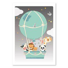 Poster luchtballon 50x70 cm. Alle dierenvriendjes gaan samen op reis in een luchtballon! Reis jij met ze mee naar dromenland? Afmeting 50 x 70cm. kinderkamer babykamer decoratie dieren