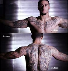CBS gave us a good look at all of Colin Karpernick's tattoos before the Super Bowl