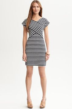 """Obsessed with this new """"twist"""" on a striped dress from Banana Republic"""