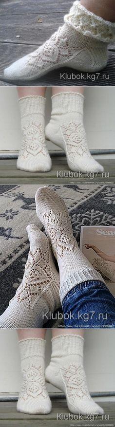 Ажурные носки спицами с узором от центра (Вязание спицами) | Журнал Вдохновение Рукодельницы