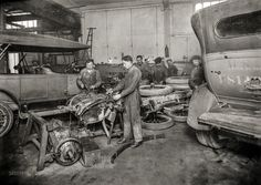 "March 17, 1919. ""Interior of main garage of American Red Cross, 79 Rue Laugier, Paris, France."