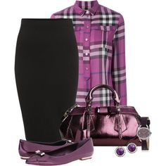 Office outfit: Black - Purple 'n' Burberry by downtownblues on Polyvore featuring Burberry