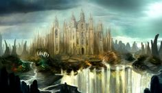 Fantasy Castle Waterfall Buildings artwork Fantasy castle Fantasy landscape