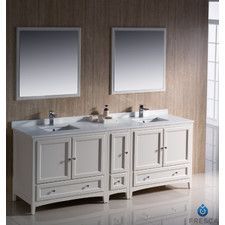 "Oxford 84"" Double Traditional Bathroom Vanity Set with Mirror"