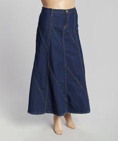 Dark Indigo Decorative-Seam Denim Maxi Skirt - Plus