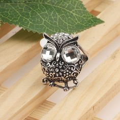 Stereo Owl Shape Fashion Ring With 2 Big Rhinestone Fill In The Eyes[US$2.01]