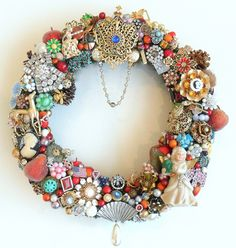 Christmas Holiday Wreath Loaded with Vintage Jewelry, Rhinestones, Buttons. $195.00, via Etsy.