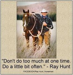 "Ray Hunt - ""Don't do too much at one time.  Do a little bit often."""