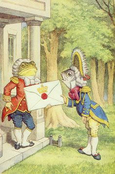 Richard Adams The Girl In A Swing The Fish-Footman Delivering an Invitation to the Duchess, illustration from 'Alice in Wonderland' by Lewis Carroll by John Tenniel. The menus at the restaurant on the first dfate were as large as the invite John Tenniel, Duchess Alice In Wonderland, All Pop, Web Gallery, Adventures In Wonderland, Lewis Carroll, Through The Looking Glass, Antique Prints, Art Dolls