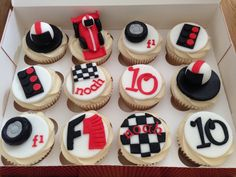 Formula One Race Car Cupcakes Andrew Birthday Cake Ideas Cookies Cupcakes And Cardio, Cupcakes For Men, Themed Cupcakes, Fun Cupcakes, Cupcake Cakes, Cup Cakes, Race Car Birthday, Race Car Party, Cars Birthday Parties