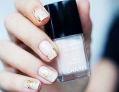 Beautiful gold leaf nail art