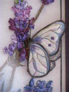 embroidery by elza dejager - Butterfly in stumpwork, Lavender Fairy @Af's 8/2/13