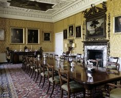The south-east end of the Dining Room at Hanbury Hall. The carved wood chimneypiece and overmantel date from about ©National Trust Images/Nadia Mackenzie 1920s Architecture, British Architecture, Hall Interior, Interior Design, Interior Ideas, Global Home, Silver Chandelier, Georgian Homes, Beautiful Wall