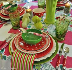 A Look Toward Summer - May Flowers Tablescape using Scarlet Polka Dot salad plate excusive to the HLCCA | The Little Round Table